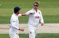 Simon Harmer of Essex receives a fist bump of captain Tom Wesley having taken the wicket of Heino Kuhn during Essex CCC vs Kent CCC, Bob Willis Trophy Cricket at The Cloudfm County Ground on 3rd August 2020