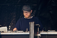 AmpRocks 2016 host and DJ, Huw Stephens (From BBC Radio 1), at AmpRocks 2016 at Ampthill Great Park, Ampthill, England on 1 July 2016. Photo by David Horn.