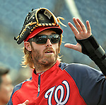 15 June 2012: Washington Nationals outfielder Jayson Werth, on the disabled list with a fractured wrist, watches teammates warm up prior to a game against the New York Yankees at Nationals Park in Washington, DC. The Yankees defeated the Nationals 7-2 in the first game of their 3-game series. Mandatory Credit: Ed Wolfstein Photo