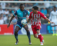 Aaron Pierre of Wycombe Wanderers battles with Chris Eagles of Accrington Stanley during the Sky Bet League 2 match between Wycombe Wanderers and Accrington Stanley at Adams Park, High Wycombe, England on 16 August 2016. Photo by Andy Rowland.