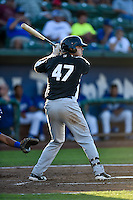 Roberto Ramos (47) of the Grand Junction Rockies at bat against the Ogden Raptors in Pioneer League action at Lindquist Field on August 25, 2016 in Ogden, Utah. The Rockies defeated the Raptors 12-3. (Stephen Smith/Four Seam Images)