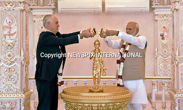 10.04.2017; New Delhi, India: MALCOLM TURNBULL AND INDIAN PM NARENDRA MODI<br />at the Akshardham Temple in New Delhi<br />The Prime Minister of Australia is on an official visit to India.<br />Mandatory Credit Photo: &copy;NEWSPIX INTERNATIONAL<br /><br />IMMEDIATE CONFIRMATION OF USAGE REQUIRED:<br />Newspix International, 31 Chinnery Hill, Bishop's Stortford, ENGLAND CM23 3PS<br />Tel:+441279 324672  ; Fax: +441279656877<br />Mobile:  07775681153<br />e-mail: info@newspixinternational.co.uk<br />**All Fees Payable To Newspix International**