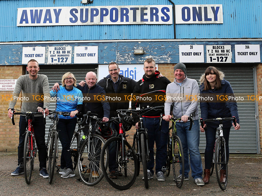 Seven MK Dons fans cycled from Milton Keynes to Southend for Charity during Southend United vs MK Dons, Sky Bet EFL League 1 Football at Roots Hall on 17th April 2017