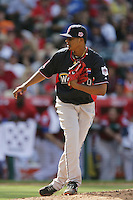 Stolmy Pimentel of the Boston Red Sox organization participates in the Futures Game at Angel Stadium in Anaheim,California on July 11, 2010. Photo by Larry Goren/Four Seam Images