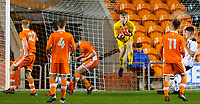 Blackpool's Sam Kellett claims a cross<br /> <br /> Photographer Alex Dodd/CameraSport<br /> <br /> The FA Youth Cup Third Round - Blackpool U18 v Derby County U18 - Tuesday 4th December 2018 - Bloomfield Road - Blackpool<br />  <br /> World Copyright &copy; 2018 CameraSport. All rights reserved. 43 Linden Ave. Countesthorpe. Leicester. England. LE8 5PG - Tel: +44 (0) 116 277 4147 - admin@camerasport.com - www.camerasport.com