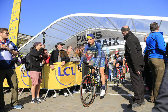 Magnus Cort Nielsen (DEN) Orica-Scott at sign on for the 115th edition of the Paris-Roubaix 2017 race running 257km Compiegne to Roubaix, France. 9th April 2017.<br /> Picture: Eoin Clarke   Cyclefile<br /> <br /> <br /> All photos usage must carry mandatory copyright credit (&copy; Cyclefile   Eoin Clarke)