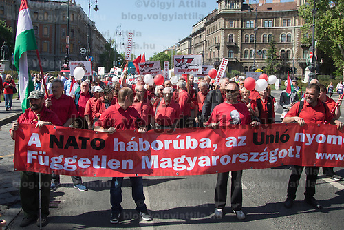 Supporters of the Hungarian Workers' Party gathered to march together celebrating International Workers' Day in Budapest, Hungary on May 1, 2018. ATTILA VOLGYI