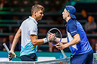 Rotterdam, The Netherlands, 11 Februari 2020, ABNAMRO World Tennis Tournament, Ahoy, <br /> Tallon Griekspoor (NED) is congratulating Filip Krajinovic (SRB)  (L) with his win<br /> Photo: www.tennisimages.com