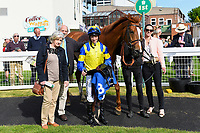 Connections of Ablaze in the winners enclosure after winning The Smith & Williamson Handicap (Class 6)      during Afternoon Racing at Salisbury Racecourse on 17th May 2018