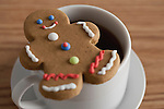 USA, Illinois, Metamora, Close up of  coffee cup and gingerbread man