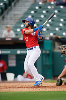 Buffalo Bisons Bo Bichette (13) hits a home run during an International League game against the Indianapolis Indians on June 20, 2019 at Sahlen Field in Buffalo, New York.  Buffalo defeated Indianapolis 11-8  (Mike Janes/Four Seam Images)