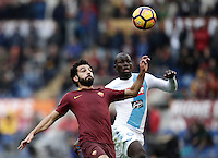 Roma&rsquo;s Mohamed Salah, left, is chased by Napoli&rsquo;s Kalidou Koulibaly during the Serie A soccer match between Roma and Napoli at the Olympic stadium, 4 March 2017.<br /> UPDATE IMAGES PRESS/Isabella Bonotto