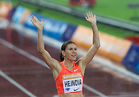Zuzana HEJNOVA of CZE (Women's 400m Hurdles) celebrates her win during the Sainsburys Anniversary Games Athletics Event at the Olympic Park, London, England on 24 July 2015. Photo by Andy Rowland.