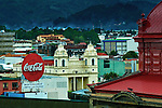 Costa Rica, San Jose, Coca-Cola Bus Stop Sign, Church of La Soledad, Red Roof  Of The National Theater