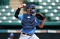 Tampa Bay Rays catcher Chris Betts (26) warmup throw down to second during an Instructional League game against the Baltimore Orioles on October 2, 2017 at Ed Smith Stadium in Sarasota, Florida.  (Mike Janes/Four Seam Images)