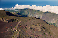France, île de la Réunion, Parc national de La Réunion, classé Patrimoine Mondial de l'UNESCO, volcan Piton de la Fournaise, route de la Plaine des Sables, en fond  la Rivière des Remparts  (vue aérienne)  //  France, Reunion island (French overseas department), Parc National de La Reunion (Reunion National Park), listed as World Heritage by UNESCO, Piton de la Fournaise volcano, road of Plaine des Sables, in the background Riviere des Remparts, (aerial view)