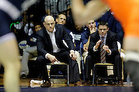 STATE COLLEGE, PA -DECEMBER 19: Head coach Cael Sanderson of the Penn State Nittany Lions coaches during a match against of the Virginia Tech Hokies on December 19, 2014 at Recreation Hall on the campus of Penn State University in State College, Pennsylvania. Penn State won 20-15. (Photo by Hunter Martin/Getty Images) *** Local Caption *** Cael Sanderson