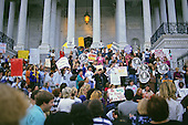 Protestors from the National Organization for Women convene on the East steps of the United States Capitol hoping to influence a negative outcome in the US Senate vote confirm Judge Clarence Thomas to be Associate Justice of the US Supreme Court in Washington, DC on October 15, 1991. The vote was 52 - 48 in Thomas' favor.<br /> Credit: Ron Sachs / CNP