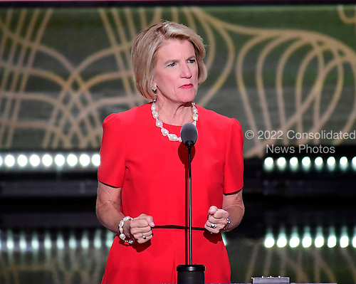 United States Senator Shelley Moore Capito (Republican of West Virginia) makes remarks at the 2016 Republican National Convention held at the Quicken Loans Arena in Cleveland, Ohio on Tuesday, July 19, 2016.<br /> Credit: Ron Sachs / CNP<br /> (RESTRICTION: NO New York or New Jersey Newspapers or newspapers within a 75 mile radius of New York City)