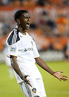 Edson Buddle of the Los Angeles Galaxy celebrates his goal during the regular season game between the Los Angeles Galaxy and the Houston Dynamo at Robertson Stadium in Houston, TX on April 10, 2010. Los Angeles 2, Houston 0.