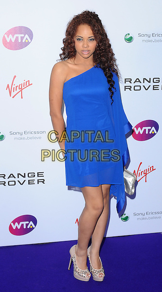 Alexis Jordan .The WTA Tour Pre-Wimbledon Party, The Roof Gardens, Kensington, London, England..16th June 2011.full length blue dress one shoulder sleeve gold clutch bag shoes beige peep toe nude .CAP/BEL.©Tom Belcher/Capital Pictures.