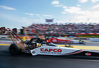 May 3, 2019; Commerce, GA, USA; NHRA top fuel driver Steve Torrence (near) races alongside Doug Kalitta during qualifying for the Southern Nationals at Atlanta Dragway. Mandatory Credit: Mark J. Rebilas-USA TODAY Sports