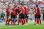 LONDON, ENGLAND - MARCH 29: Jay Harris of Wrexham (3rd left) celebrates scoring  his team's second goal against North Ferriby United to make it 0-2 during the FA Carlsberg Trophy Final 2015 at Wembley Stadium on March 29, 2015 in London, England. (Photo by David Horn/EAP)