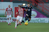 2nd February 2019, Hope CBD Stadium, Hamilton, Scotland; Ladbrokes Premiership football, Hamilton Academical versus Dundee; Scott Wright of Dundee challenges for the ball with Aaron McGowan of Hamilton Academical