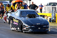 Sept. 1, 2013; Clermont, IN, USA: NHRA top alcohol funny car driver Fred Tigges during qualifying for the US Nationals at Lucas Oil Raceway. Mandatory Credit: Mark J. Rebilas-