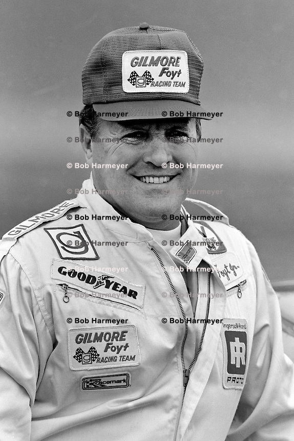 DAYTONA BEACH, FL - FEBRUARY 14: AJ Foyt pauses in the pit lane after qualifying his Oldsmobile for the Daytona 500 NASCAR Winston Cup race at the Daytona International Speedway in Daytona Beach, Florida, on February 14, 1982.