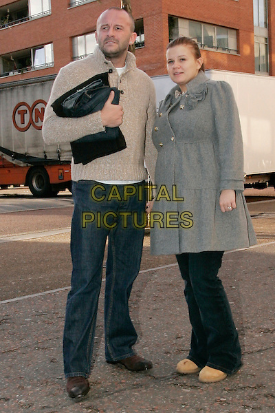 "MARK CROFT & KERRY KATONA.Arriving at GMTV Stidios for an interview on ""This Morning"", London, England, January 9th 2007..full length married husband wife grey coat pregnant  couple.CAP/GM.©Capital Pictures."