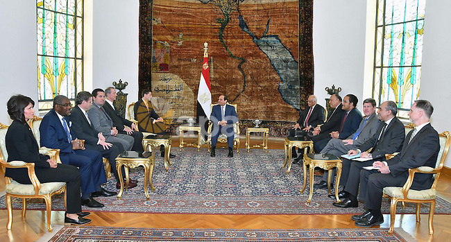 Egyptian President Abdel Fattah al-Sisi meets with speaker of the US House of Representatives Paul Ryan in Cairo, Egypt, on April 07, 2016. Photo by Egyptian President Office
