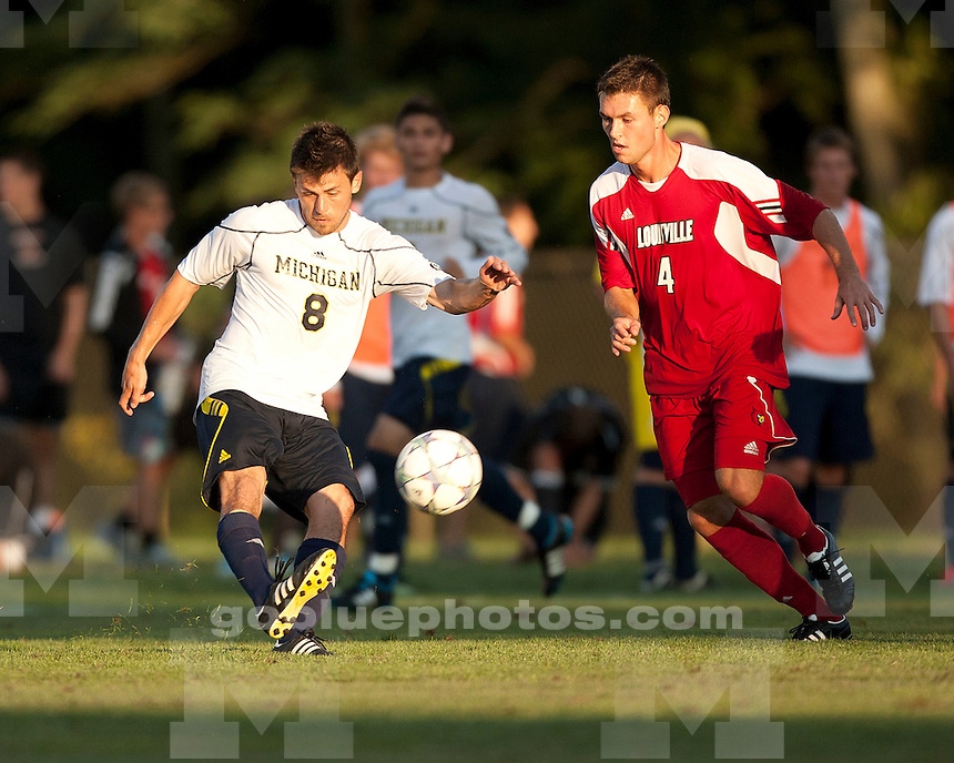 The University of Michigan's men's soccer team dropped a preseason exhibition game, losing 2-0 to 2010-2011 national runner-up Louisville on Saturday, Aug. 20, 2011, during the National Soccer Festival at Hefner Fields in Fort Wayne, Ind., on August 20, 2011.