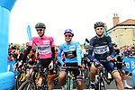 The leaders jerseys Etienne Van Empel (RNL), Dylan Groenewegen (NED) Team Lotto NL-Jumbo and Conor Dunne (IRL) Aqua Blue Sport before the start of Stage 2 of the Tour de Yorkshire 2017 running 122.5km from Tadcaster to Harrogate, England. 29th April 2017. <br /> Picture: ASO/A.Broadway | Cyclefile<br /> <br /> <br /> All photos usage must carry mandatory copyright credit (&copy; Cyclefile | ASO/A.Broadway)