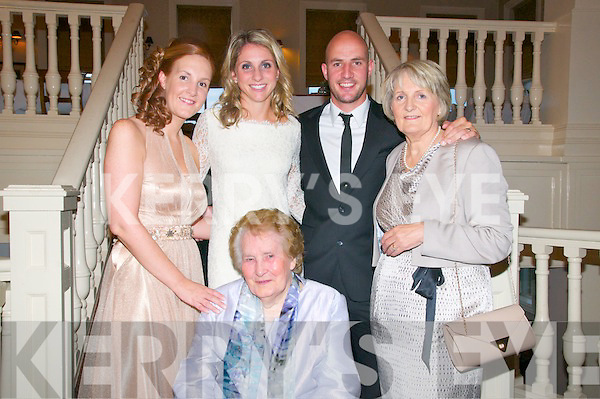 Kennelly Wedding ; Tadgh & Nicole Kennelly pictured with his sister Joanne, mother Nuala & grandmother Margaret Kennelly.