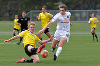 Team Wellington&rsquo;s Callum McCowatt and Phoenix&rsquo; Boyd Curry in action during the National Youth League - Phoenix Youth v Team Wellington Youth at Petone Memorial Park, Lower Hutt, New Zealand on Saturday 29 October 2016.<br /> Photo by Masanori Udagawa. <br /> www.photowellington.photoshelter.com.