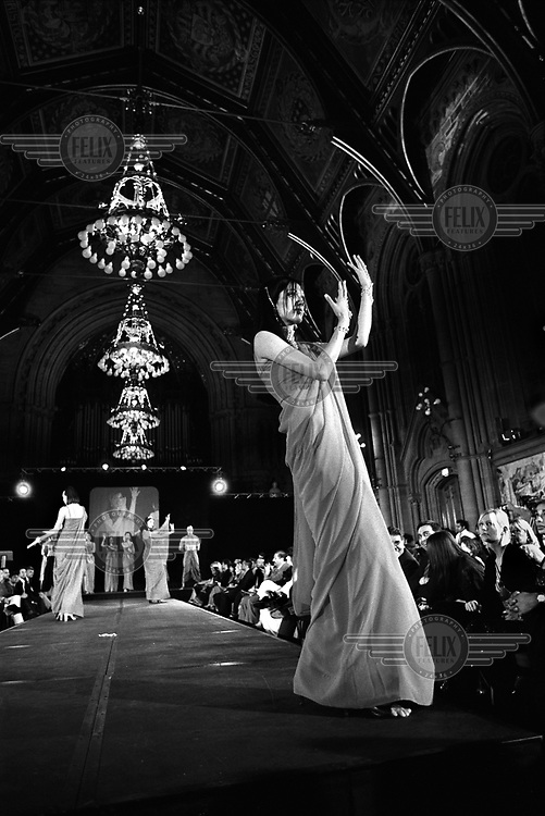 Model at a catwalk show held at Manchester Town Hall to celebrate the launch of Asian Fashion Magazine, one of the many upmarket glossy magazines published for the British-Asian market.