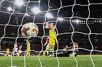 Mathieu Debuchy of Arsenal scores the opening goal during the UEFA Europa League match between Arsenal and FC BATE Borisov  at the Emirates Stadium, London, England on 7 December 2017. Photo by David Horn.