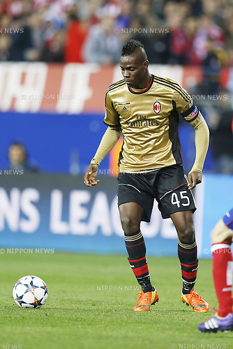Mario Balotelli (Milan), MARCH 11, 2014 - Football / Soccer : UEFA Champions League match between Atletico de Madrid and AC Milan at the Vicente Calderon Stadium in Madrid, Spain. (Photo by AFLO) [3604]