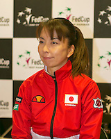 The Netherlands, Den Bosch, 16.04.2014. Fed Cup Netherlands-Japan, Press-conference Japanese team, Captain Yuka KANEKO<br /> Photo:Tennisimages/Henk Koster