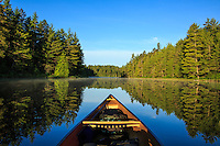"""""""Tranquil Morning Paddle""""<br /> <br /> One of life's simple pleasures is a serene morning paddle surrounded by a forest bursting with cheerful bird song.<br /> ~ Day 99 of Inspired by Wilderness: A Four Season Solo Canoe Journey"""
