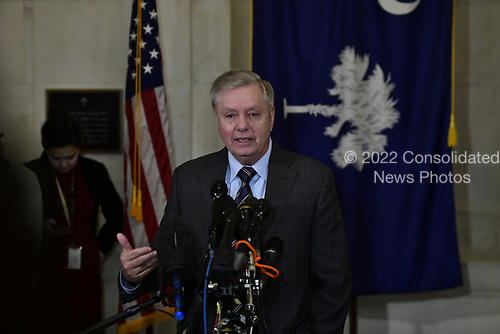 United States Senator Lindsey Graham (Republican of South  Carolina), Chairman, US Senate Judiciary Committee, meets reporters outside his Capitol Hill office to discuss the impeachment proceedings, the latest news on the FISA process, and to discuss his plans for the committee in 2020.<br /> Credit: Ron Sachs / CNP<br /> (RESTRICTION: NO New York or New Jersey Newspapers or newspapers within a 75 mile radius of New York City)