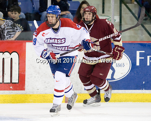 Patrick Cey (Lowell - 19), Edwin Shea (BC - 8) - The University of Massachusetts-Lowell River Hawks defeated the Boston College Eagles 3-1 (EN) on Saturday, January 23, 2010, at Tsongas Arena in Lowell, Massachusetts.