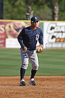 Wilmington Blue Rocks 3rd Baseman Cheslor Cuthbert #23 fielding before a game against the Myrtle Beach Pelicans at Tickerreturn.com Field at Pelicans Ballpark on April 7, 2012 in Myrtle Beach, SC. Myrtle Beach defeated Wilmington 2-1. (Robert Gurganus/Four Seam Images)