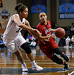 SIOUX FALLS, SD: MARCH 21:  Chelsey Shumpert #25 of Union drives on Kayonna Lee # of Central Missouri during their game at the 2018 Division II Women's Basketball Championship at the Sanford Pentagon in Sioux Falls, S.D. (Photo by Dick Carlson/Inertia)