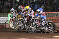 Heat 8: Kim Nilsson (red), Rob Mear (blue), Norbert Kosciuch (white) and Patrick Hougaard - Lakeside Hammers vs Peterborough Panthers - Sky Sports Elite League Speedway at Arena Essex Raceway, Purfleet - 14/09/12 - MANDATORY CREDIT: Gavin Ellis/TGSPHOTO - Self billing applies where appropriate - 0845 094 6026 - contact@tgsphoto.co.uk - NO UNPAID USE.