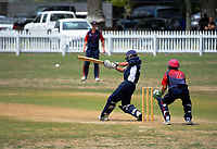 Action from the Secondary School Boys' First XI Cup national cricket finals match between Tauranga Boys' College and Hutt International Boys' School at Fitzherbert Park in Palmerston North, New Zealand on Friday, 8 December 2017. Photo: Dave Lintott / lintottphoto.co.nz