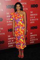 www.acepixs.com<br /> April 18, 2017  New York City<br /> <br /> Ren&eacute;e Elise Goldsberry attending 'The Immortal Life of Henrietta Lacks' premiere at SVA Theater on April 18, 2017 in New York City.<br /> <br /> Credit: Kristin Callahan/ACE Pictures<br /> <br /> <br /> Tel: 646 769 0430<br /> Email: info@acepixs.com