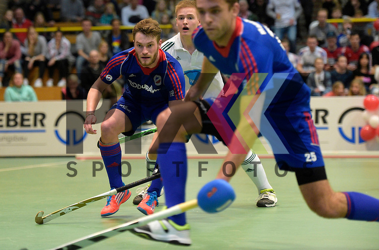 GER - Luebeck, Germany, February 06: During the 1. Bundesliga Herren indoor hockey semi final match at the Final 4 between Uhlenhorst Muelheim (white) and Mannheimer HC (blue) on February 6, 2016 at Hansehalle Luebeck in Luebeck, Germany. Final score 2-3 (HT 7-5).  Maximilian Neumann #24 of Mannheimer HC<br /> <br /> Foto &copy; PIX-Sportfotos *** Foto ist honorarpflichtig! *** Auf Anfrage in hoeherer Qualitaet/Aufloesung. Belegexemplar erbeten. Veroeffentlichung ausschliesslich fuer journalistisch-publizistische Zwecke. For editorial use only.