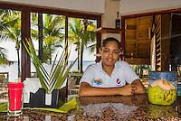 Honduras, Roatan Island, Fantasy Island Resort, Caribbean. Hotel bar tender.